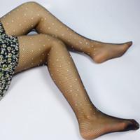 ingrosso rete di pesca-2017 vendita calda delle donne sexy delle ragazze delle signore strass collant diamante lucido calze a rete hollow piccola maglia che borda collant