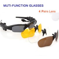 Wholesale Earphone Glasses - Multi-function 4.1 Stereo Bluetooth Earphones Glasses Outdoor Polarized Sports Sunglasses Driving Goggles Eyewear 4 Lens
