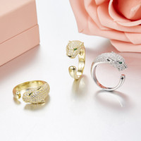 Wholesale Gold Inlay Ring - Luxury brand Leopard style inlaid CZ opening adjustable size ring for Carter ladies jewelry