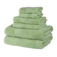 ingrosso asciugamano verde-70 * 140CM Asciugamano da bagno Set Verde 1Hand 1Bath 1Washcloth Cotone Farbic Home Hotel Asciugamani spessi Asciugamani per capelli Assorbenti per ragazza