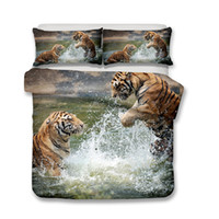 Wholesale queen size tiger bedding for sale - 3D Two Tigers Play with Water Luxury Bedding Sets of Pillowcases and Duvet Covers All Size