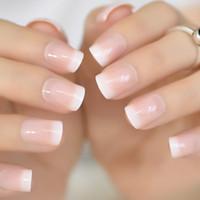 bouts des ongles blanc achat en gros de-Faux clous français nude rose Gel UV carré Squoval Gel Faux Appuyez sur les ongles pour Fille Couverture complète Porter Finger Nail Art Conseils Y18101003