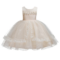 детское махровое платье оптовых-Toddler Baby Girls Princess Wedding Birthday Party Flower Dress Vintage Ball Gown Princess Girl Bridesmaid Formal Tutu Dress
