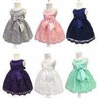 ingrosso ragazza di fiore di tulle beige-Flower Girl Dress For Wedding Neonata 3-18M Compleanno Abiti Ragazze per bambini Prima Comunione Abiti Ragazza Bambini Party Wear