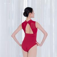ingrosso ballerini neri-Body balletto nero / bianco per donna cotone ballerino danza classica balletto Body nero sexy collo alto balletto backless per ballerina