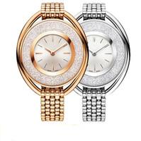 rollo de correa al por mayor-2019 Venta caliente Mujeres de lujo reloj Reloj de la marca de oro Correa de acero Señora Vestido de la pulsera relojes Joyería hebilla Multi colores Rolling Diamonds sexy