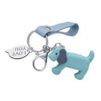 искусственная намотка оптовых-WXJCAN Long lanyard dog keychain pendant Key chain car Artificial leather rope & plastic pendant Love You chaveiro llavero