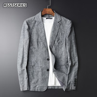 094a0ef5ce Asstseries Mens Blazer Young Man New Linen Suit Jacket Autumn Casual Mianma Male  Single Breasted High Quality Blazer Masculino