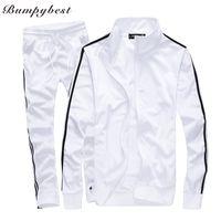 Wholesale Green Track Suits - Bumpybeast Sportswear Mens Track Suits 2018 Spring Sportswear Men Solid Color Tracksuits New Brand White Sportwear Set Zipper hoodies 5XL