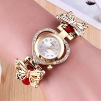 olha amor das meninas venda por atacado-Novas meninas adoram pulseira relógio borboleta decoração jóias casal presente atacado