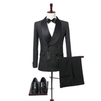 Wholesale men double breasted suits - Black Grid Cloth Wedding Men Suits 2018 Shawl Lapel Double Breasted Botton Wedding Tuxedos Two Piece Jacket Pants