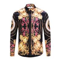 chemises habillées de marque achat en gros de-Livraison gratuite 2018 Brand New Medusa concepteur imprimé chemises habillées Slim Fit chemises en coton pour hommes