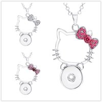 c084a0afe Noosa chunks crystal hello kitty cat 18mm snap button necklace for women  ginger snap button jewelry