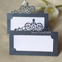 diseño de tarjeta de presentación al por mayor-30 unids envío gratis venta Caliente corte láser Party Table Name Card Crown design Place RSVP Cards Wedding Invitation Table holder tarjetas