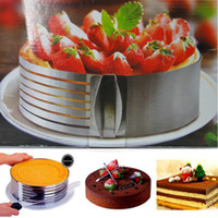 Wholesale Cake Circles Wholesale - New Fashion Retractable Stainless Steel Mousse Ring Adjustable Cake Ring Circle Mold Kitchen Baking Tool 3D DIY Bakeware
