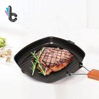 ingrosso pentole in ghisa-Die -Cast raffinata pentola di ferro pieghevole portatile bistecca padella addensata non-grill grill padella barbecue all'aperto stoviglie da campeggio