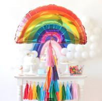 büyük boy balonlar toptan satış-Büyük Boy gökkuşağı balonlar 90 * 60 CM FOIL baloes 35.5 '' * 24 '' helyum ballons doğum günü tatil dekor Alüminyum Kaplama potala düğün globos