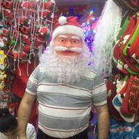 Wholesale funny santa costumes - Christmas Santa Claus Masquerade Mask Party Prop Cosplay Funny Costume Party Dressing Full Face Mask Xmas Toy Kid Adult Santa