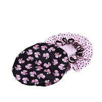 ingrosso vasi da fiori farfalla-2 pezzi donne impermeabili cuffia per doccia con vaso / disegno floreale (farfalla nera con punto rosa)