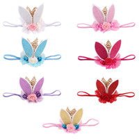 Wholesale Sequin Hair Flowers - Baby crown Headbands Girls Sequin Rabbit ears Headband cartoon bunny hairbands Flower Head bands Cute Hair Accessories C3970