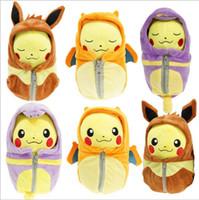 Wholesale red sleeping bag online - 1pcs cm Sleeping Bag Pikachu Plush Pikachu Cosplay Charizard Eevee Ekans Sleeping Bag Stuffed Plush Toys for Kids