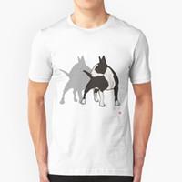 Wholesale silver gold dog collar online - Animal T Shirt Men ENGLISH BULL TERRIER DOG Short Sleeve Cotton Round Collar Cotton Tees T Shirt Male Pit Bull American