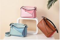 Wholesale Puzzle Blue - high quality 2018 new style fashion genuine leather puzzle bag women shoulder bag geometric handbag evening bag