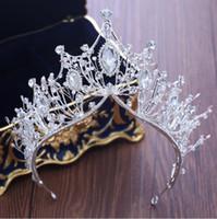 prenses taç dekorasyonları toptan satış-Gelin taç prenses taç süslemeleri kristal aksesuarları aksesuarları gelinlik aksesuarları