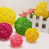 Wholesale wholesale christmas crafts supplies - Multicolor Rattan Ball For Birthday Party Wedding Decoration Artificial Straw Balls Christmas Home Hanging Ornament Craft Supplies 1yt5 YY
