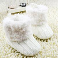 ingrosso ragazza del ragazzo dei jeans dell'uncinetto del bambino-Scarpine Infantili Crochet Knit Fleece Boots Toddler Girl Boy Wool Snow Crib Shoes Booties invernali