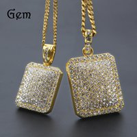 Wholesale stainless zodiac pendant - 2017 Mens Hip Hop Chain Fashion Jewelry Full Rhinestone Pendant Necklaces Gold Filled Hiphop Zodiac Jewelry Men Cuban Chain Necklace Dog Tag