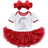 Wholesale baby first birthday clothing for sale - Baby Girl s Christmas clothing Set My First Christmas Romper Red Sequin Dress bowknot headband Infant Christmas Jumpsuit set Birthday Gifts