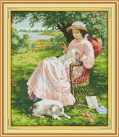 Wholesale apples tools resale online - The woman under an apple tree decor paintings Handmade Cross Stitch Embroidery Needlework sets counted print on canvas DMC CT CT