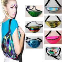 sparkle bags achat en gros de-21 couleurs 30 * 16 cm taille pack unisexe argent métallique fanny taille sac poitrine sac pack étincelle festival hologramme sac taille sac CCA7015 60pcs