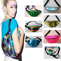 Wholesale fanny waist packs - 21 Colors 30*16cm Waist Pack Unisex Metallic Silver Fanny Waist Bag Chest Pack Sparkle Festival Hologram Bag Waist Bag CCA7015 60pcs