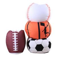Wholesale Clothing Storage - Football Basketball Baseball Storage Bean Bag 18inch Stuffed Animal Plush Pouch Bag Clothing Laundry Storage Organizer 4 Colors OOA4773