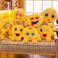 qq bebek toptan satış-QQ İfade Yastık 37 cm Emoji Yastıklar Yastık Bacak Karikatür Yüz Dekoratif Yastıklar Dolması Peluş Oyuncak Yenilik Bebek 120 adet T1I1002
