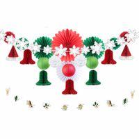 Wholesale wholesale paper snowflake decorations - 22 pcs set 2017 Christmas Decorations for party Snowflake Tree Ornaments DIY Party Decoration Supplier Paper Fan Christmas Bells