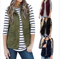 botones de chaleco de moda al por mayor-Chaleco de botón de la capa del invierno del chaleco de las nuevas mujeres de la moda 4 colores chalecos de un solo pecho