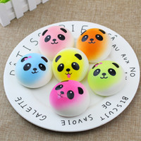Wholesale squishy keychains - 3D Kawaii Squishy Rare Jumbo Squishies Panda for Keys Phone Strap Mobile Phone Charm Pendant Keychains Cell Phone Accessories Colorful