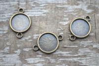 Wholesale bronze connector 12mm for sale - Group buy 25pcs Antique bronze tone round Glass Cabochon settings connectors pendants fit mm glass dome