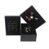 ring zeigt großhandel-TONVIC Sorten von hoher Qualität schwarz Kunstleder Halskette Armband Ring Ohrring Perlen Beispiel Fach Schmuck Show Display Tray Halter