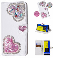 Wholesale huawei silicone 3d for sale - For Huawei Mate Lite Lite P20 Y6 D Heart Liquid Leather Wallet Case Bling Diamond Quicksand Glitter Love Phone Luxury Flip Cover