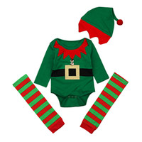 f62306e772cf6 Wholesale christmas elf hats online - Xmas Baby boys outfits infant Christmas  elf romper hat Leggings