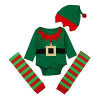 Wholesale elf clothes online - Xmas Baby boys outfits infant Christmas elf romper hat Leggings socks set Autumn fashion Boutique kids pajamas Clothing Sets C4957