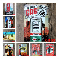 Wholesale home wall art painting - Gasline Gas Oil Beer Route Vintage Craft Tin Sign Retro Metal Home Restaurant KTV Kitchen Bar Pub Signs Wall Art Sticker