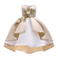 kız resmi yelekler toptan satış-Büyük Kızlar Prenses Elbise Yılbaşı Çiçek Çocuk Giyim 2018 Sonbahar Moda Yelek Dantel Parti Resmi Elbise Çocuk Balo Y652