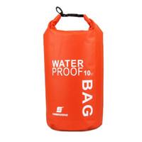 mavi yüzme çantası toptan satış-Yeni LUCKSTONE 10L su geçirmez kuru çanta ultralight açık hava gezileri için, rafting, kayaking sürüklenen turuncu / mavi / yeşil / beyaz