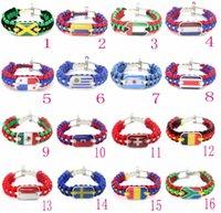 bracelets drapeau national achat en gros de-Coupe du monde National Drapeau Bracelet Sport Dragonne Alliage Boucle Fans Fournitures Cadeau commémoratif pour la décoration de fête GGA255 50 pcs