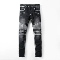 ingrosso disegni biker-Mens jeans a pieghe lavati pantaloni VERO Jeans Jeans Hommes Slim pantaloni lunghi Design tasca Jeans RELIGION Mens Biker nero Jeans PUNK